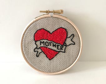 Hand embroidered Mother tattoo wall hanging - Mother's Day gift