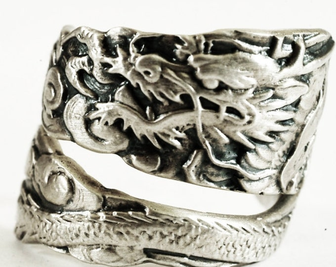 Asian Dragon Ring, Spoon Ring Sterling Silver Dragon Ring, Japanese Dragon Gift, Handmade Ring, Gothic Mens Gift, Adjustable Ring Size, 3463
