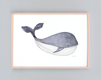Large Art Print, Whale Nursery,  Baby Wall Art, Nursery Art, Whale Wall Prints, Nautical Decor, Whale  Baby Whale Art Baby Shower