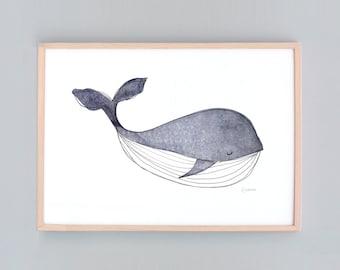 Large Art Print, Whale Nursery,  Baby Wall Art, Nursery Art, Whale Wall Prints, Nautical Decor, Whale  Baby Whale Art Baby Shower