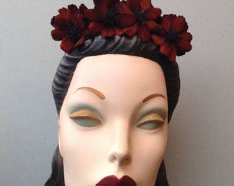 Merlot Flower Headband, Velvet Floral Decor on Velour Felt Headband, Flower Tiara