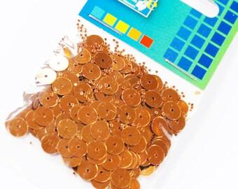 Sequin/glitter flat round copper 6mm 5 g + / 400