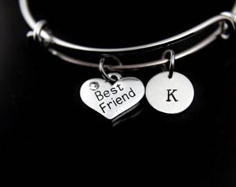Best Friend Bracelet Silver Best Friend Charm Bangle Best Friend Charm Best Friend Jewelry Best Friend Gift Personalized Initial Bangle