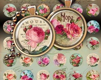 1 inch (25mm) and 1.5 inch size Circle Images ROSE GARDEN  Digital Collage Sheets Printable Download for pendants, earrings, bezel cabs