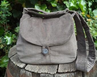 Gray corduroy shoulder bag,buttoned bag,shoulder bag