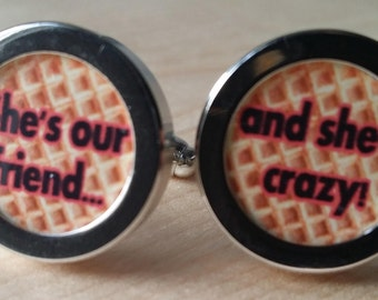 "Handcrafted Personalised Stranger Things inspired cuff links  eleven Dustin eggo ""she's our friend and she's crazy"