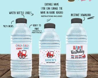 INSTANT DOWNLOAD - EDITABLE Choo Choo Train Birthday Water Bottle Labels - train second birthday printable Party decorations