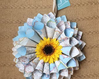 Paper Wreath - Atlas paper Wreath - Teacher gift - World Traveler gift