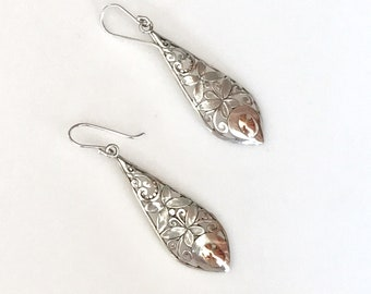 925 Sterling Silver 10K Gold Two Tone Butterfly Cut Out Dangle Earrings, Gift for Her