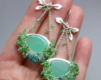 Long Chrysoprase Swingers Earrings with Green Tourmaline and Apatite Fringe