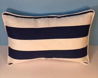 """13x20"""" OUTDOOR Corded Pillow Cover - Navy Blue and White Stripe Lumbar"""