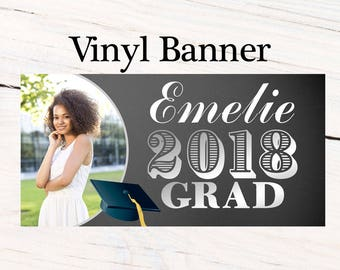 Graduation Photo Banner ~ Congrats Grad Personalized Party Banners -Chalkboard Graduation Banner, Class of 2018 Banner, Custom Banner