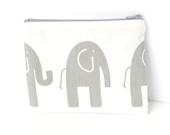 Personalized Elephant Pouch with initials - Monogrammed Makeup bag - Bridesmaid clutches- Choose your Colors and Prints - Small