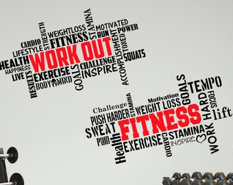 2 Large Pro Workout Fitness Motivational Wall Decals Gym Quotes Excellent Value!