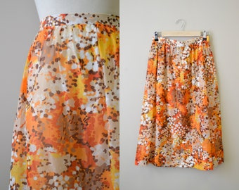 1960s Printed Chiffon Sheer Skirt