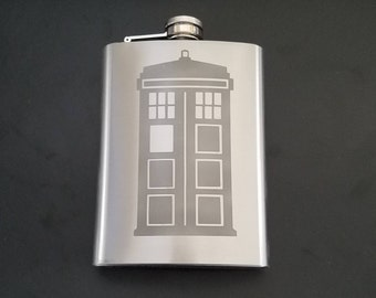 Doctor Who inspired Etched Flask