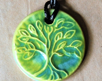 Handmade Ceramic Pendant with a Light Green Tree of Life - Blessingway Gift - Yoga Jewelry - Wedding Jewelry - Aromatherapy Diffuser