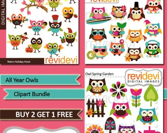 Owl clipart sale bundle / All Year Owls clip art commercial use / Holidays owls, four seasons owls, digital images