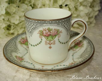 Ford & Pointon, England: Demitasse and saucer with lovely green garland and pink flowers