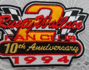 Rusty Wallace Fan Club 10th Anniversary Racing Patch 1994 New Old Stock (2)