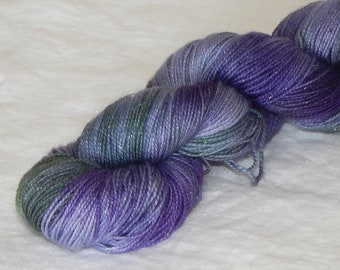 Hydrangea on Mad Sock Sparkle 75/20/5 SW merino nylon and stellina fingering yarn