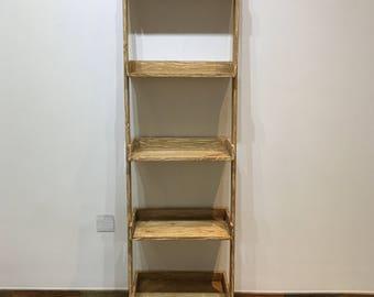 Modern primitive leaning shelf