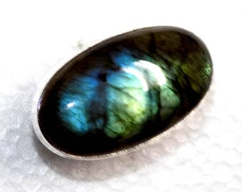 Labradorite Intense Blue Fire Ring in Sterling Silver .925