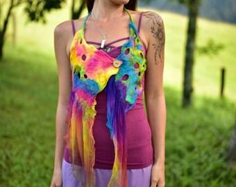 Nuno Felted Top-Rainbow Halter Top-Silk Top-Rainbow Felt Costume-Rainbow Fairy Top-Fairy Costume-Rainbow Costume-Woodland Costume OOAK