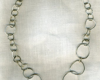 Sterling silver handmade chain link round oval asymetrical 22 inch Necklace