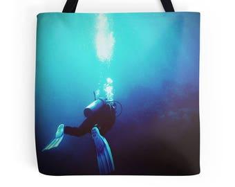 Scuba bag, scuba tote, diver bag, diver tote, underwater bag, blue bag, photo bag, photo tote, gift for diver, everyday bag, shoulder bag