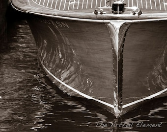 Get 20% OFF Today Boat art, Lake house decor, Nautical decor, Wooden boat photography Sepia print Chris Craft boat / Wood & Chrome boat bow