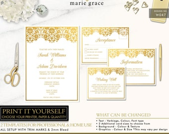 Gold Wedding Invitations Template, Gold Damask Wedding Invitation