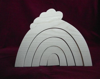 Little Stacker, Rainbow with Cloud Unfinished Pine Cutout