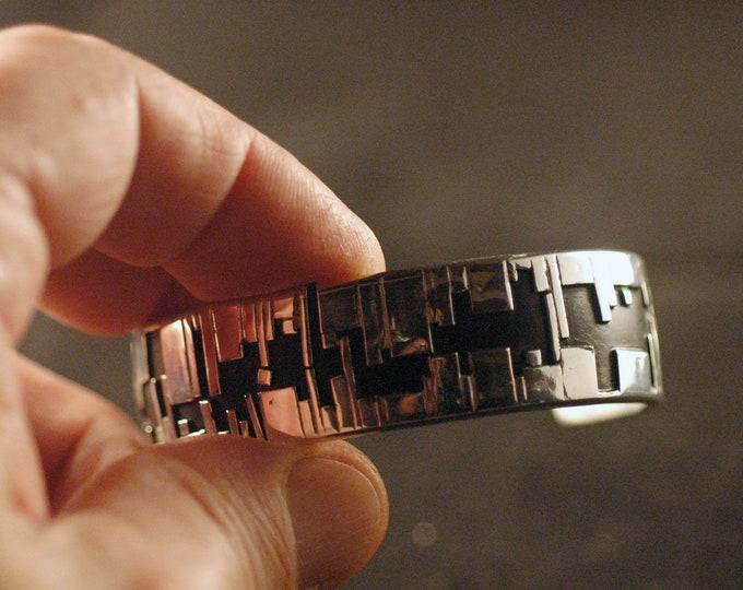 Granular Solid Sterling Silver Bracelet, Forge-Shaped Stunning Sterling Silver with Granular Silver Design by Michael Ferreira on Etsy
