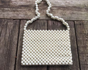 White Beaded Lady Ellen Handbag