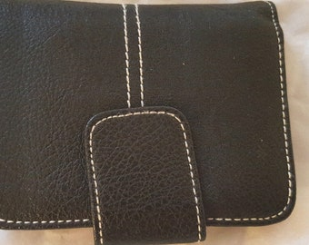 Black Leather Wallet Stitched with side zipper small and practical room for your bills and see thru Id or Lic