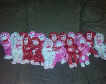 Personalized velcro monkeys|Personalized monkeys|Valentines plushies|Valentines stuffed animals|Personalized stuffed animals|Valentines gift