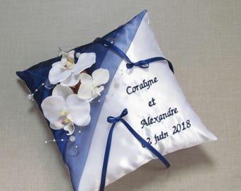 Midnight blue and white ring bearer pillow custom wedding decor theme Orchid Saperlipopette Creation
