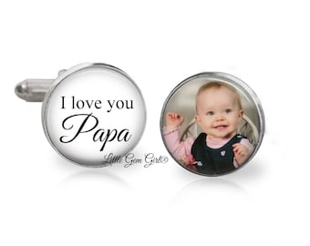 Custom Photo Papa Cuff Links - Father of the Bride - I love you Wedding Gifts for Dad and Grandpa