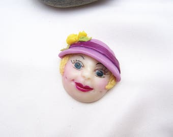 Lady with hat in cold porcelain
