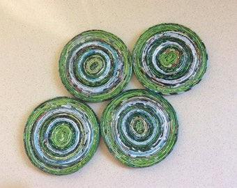 Drink Coasters, Housewarming gift, Round Coasters, Home Gift, Paper coasters, Coiled Magazine, Upcycled Magazines, eco fashion, Colourful