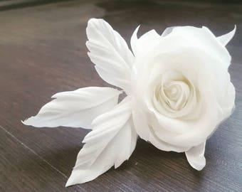 White Flower Hair Clip - Bridal Flower Hair Clip - White Flower Headpiece - Floral Hair Clip - White Pink Hair Clip - White Silk Flower