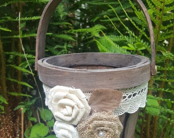 Rustic Flower Girl Basket , Wedding Basket Bridal Basket Wedding Rustic Wedding Bucket Flower Girl Basket