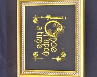 """Wall Hanging, Wall Art, Embroidered Picture, Princess, Story, """"Once upon a time"""", framed"""