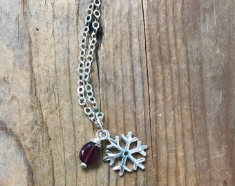 Snowflake Necklace With Garnet - Garnet Jewelry January Birthstone Winter Jewelry Mothers Day Sterling Silver Gemstone Jewelry Monogram