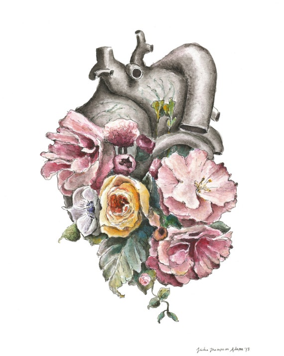 Floral Anatomy: Heart Print of Watercolor Anatomical Art