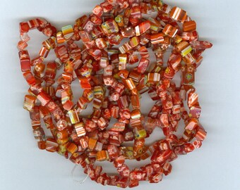 Red Glass Chips, Red and Yellow Millefiori Glass Flower Chip Spacer Beads 32 inch Strand Bead Chips