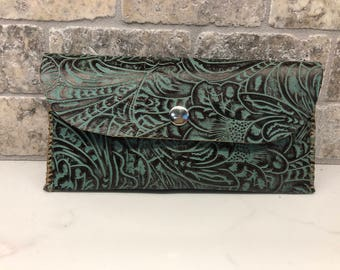 Teal tooled saddle cell phone pouch