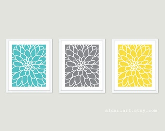 Dahlia Wall Art - Modern Flower Art Prints - Dahlia Flower No.2  - Flower Wall Art - Print Set - Home Decor - Aqua Turquoise Grey yellow
