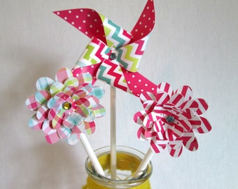 Party Favors Paper Pinwheels Flower Favors Cupcake Toppers Pinwheels & Flowers Mix Birthday Party Favors Baby Shower Favors Birthday Favors